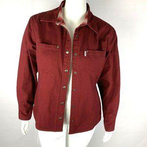 Carhartt for Women Pocket Denim Jean Jacket Maroon
